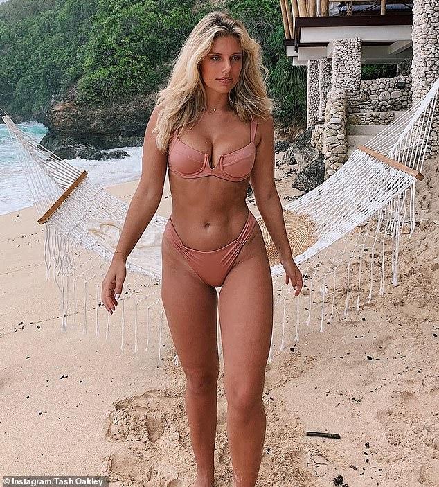 Australian bikini blogger Tash Oakley (pictured) reveals a demure 'nearly nude' two piece in hue that flatters her tan
