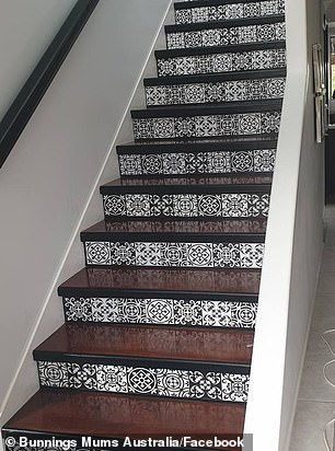AFTER: Electrical tape and contact from Bunnings transformed the stairs into a stunning style statement