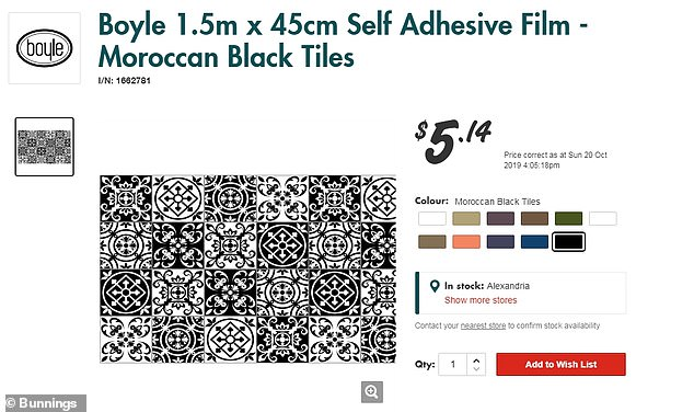 The Moroccan patterned contact the woman used is available from Bunnings for $5.14 per roll
