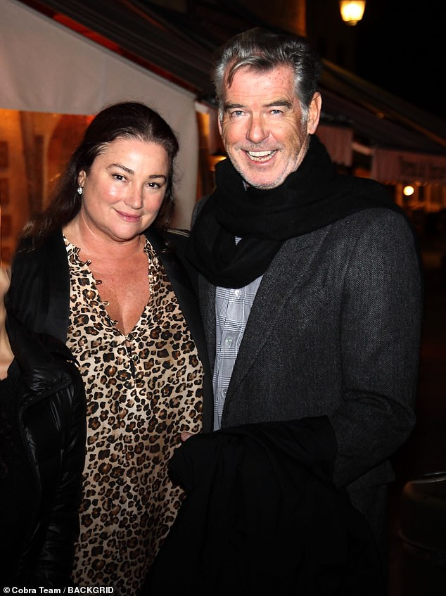 Trip: Pierce Brosnan, 66, and his wife Keely Shaye Smith, 56, have travelled south where they enjoyed some fine dining in Portofino, Italy this week