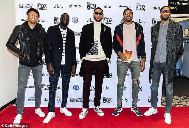 Team player!Ahead of the film's screening, Ben took to his Twitter account to reveal that he was excited to have his teammates witness Adam Goodes' amazing story (L-R): Basketball players for the Philadelphia 76ers Matisse Thybulle, Marial Shayok, Ben Simmons, Tobias Harris and Jonah Bolden