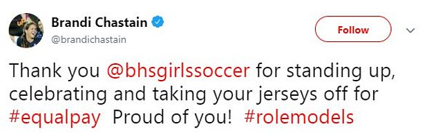 They receivedsupport from professional US soccer player Brandi Chastain after the stunt