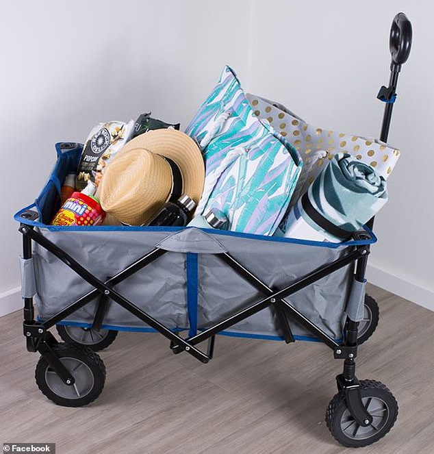 Kmart's original foldable beach trolley has been described as perfectfor lugging towels, toys, and everything else a family needs for a nice day at the beach