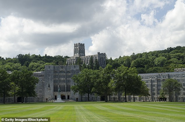The military college (pictured), which houses over 4,000 cadets, is one of the most prestigious military training academies in the world. They said there is no reason to think the cadet could be a danger to the public