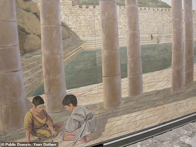 The ancient walkway linking the Temple Mount with the Pool of Siloam, pictured in this artist's impression, was first discovered in 1894 by British archaeologists in Jerusalem's 'City of David'