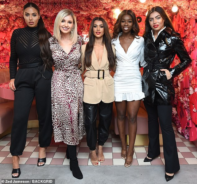 Glamorous line-up! Francesca joined (L-R) co-stars Anna Vakili, 29, Amy Hart, 26, Joanna Chimonides, 23, and Yewande Biala, 24, at the fashion event