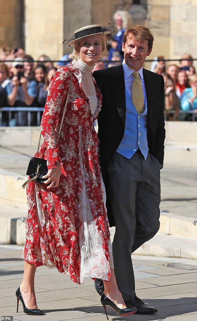Outing: James and wife Sofia are pictured at the wedding of singer Ellie Goulding and Caspar Jopling in August