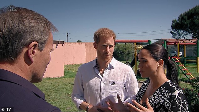 The very eloquent driver: The video shows Meghan answering ITV's Tom Bradby's questions directly while Harry occasionally defers to his wife who 'gets to the answers first.'