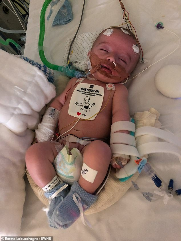 Michael Labuschagne was rushed to hospital at 14 weeks old when he woke up gasping for air. He suffered a cardiac arrest caused by a rare heart tumour