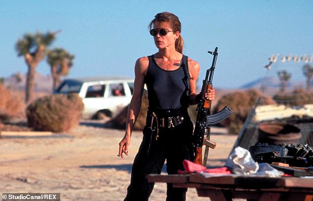 T2:Discussing Linda's appearance in Terminator 2, he said: 'That was the first time any woman was seen that muscular. She was kind of like the female Rambo'