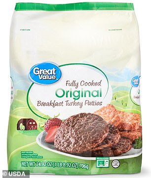 The company said a small group of the products tested positive for the bacteria during sampling. Pictured: Recalled Great Value Fully Cooked Original Breakfast Turkey Patties