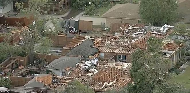 Devastating aerial footage has since emerged showing the destruction caused by the tornado after it touched down in Dallas on Sunday night without warning