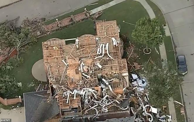 The tornado struck Dallas at about 9pm on Sunday night with devastating 111mph winds