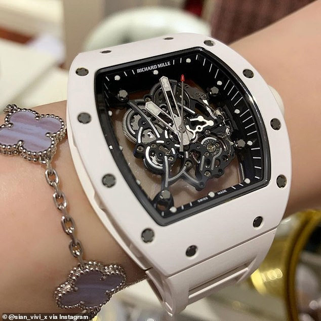 Some of the luxuriesSian_vivi_x likes to show off on her Instagram page include a Richard Mille watch, pictured above