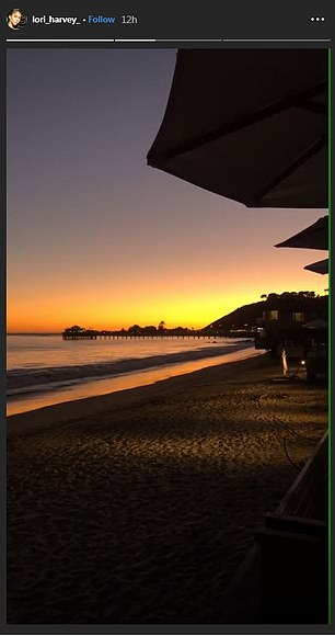 The model uploaded photos of the view from Nobu, Malibu, where she'd been having dinner