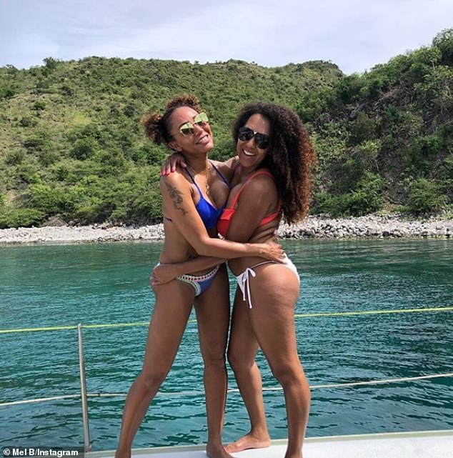 Family reunion: Mel B and her sister Danielle Brown have embarked upon a pilgrimage to the Caribbean island of Nevis, sharing snaps from their trip on Monday