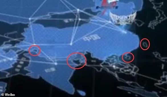 The TV series was penalised by the Chinese authorities after showing an 'illegal' map of the country (above) which failed to include Taiwan as well as parts of Tibet and Xinjiang
