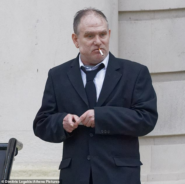 Paul Gadd, the brother of the victim was pictured smoking outside Cardiff Crown Court today
