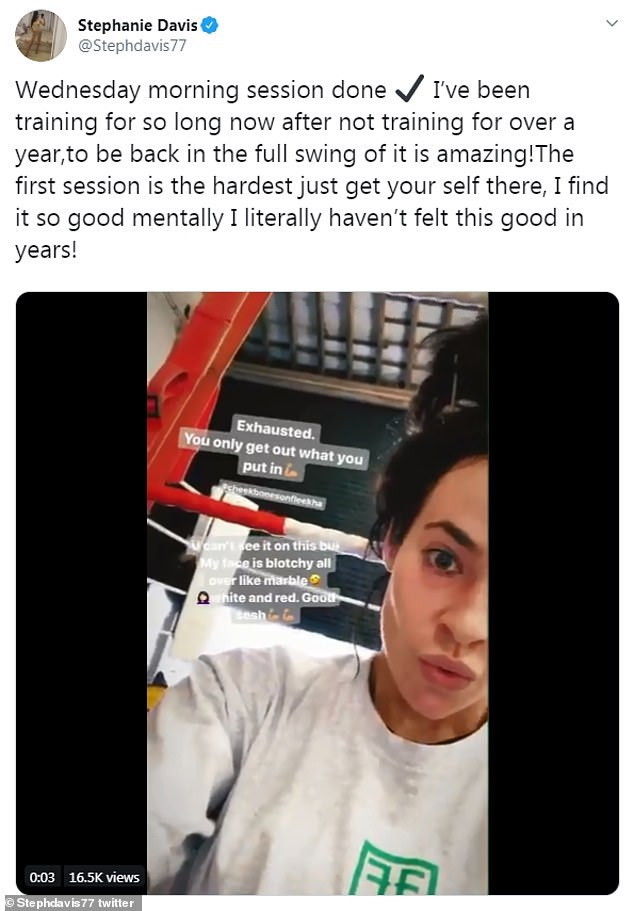 Back at it:Last week, Stephanie revealed that she hadn't been to the gym for a year, as she encouraged others to follow her fitness kick, and get active
