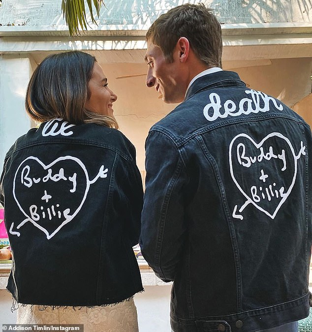 His and hers:Addison shared a cute picture with Jeremy wearing matching black denim 'til death' jackets with the names 'Buddy + Billie' scrawled inside of a heart