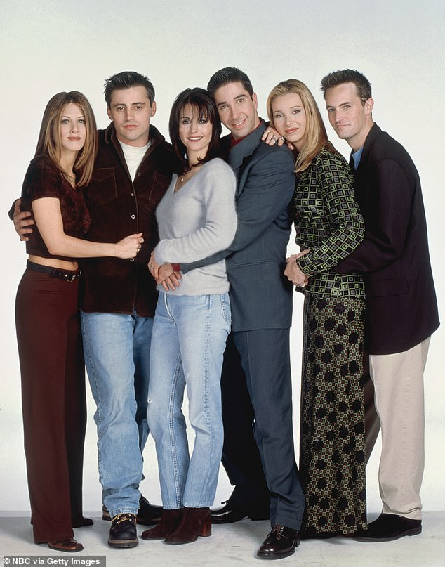 Blast from the past: Aniston starred in the popular sitcom throughout the 10-year race with Courteney Cox, Lisa Kudrow, Matthew Perry, David Schwimmer and Matt LeBlanc