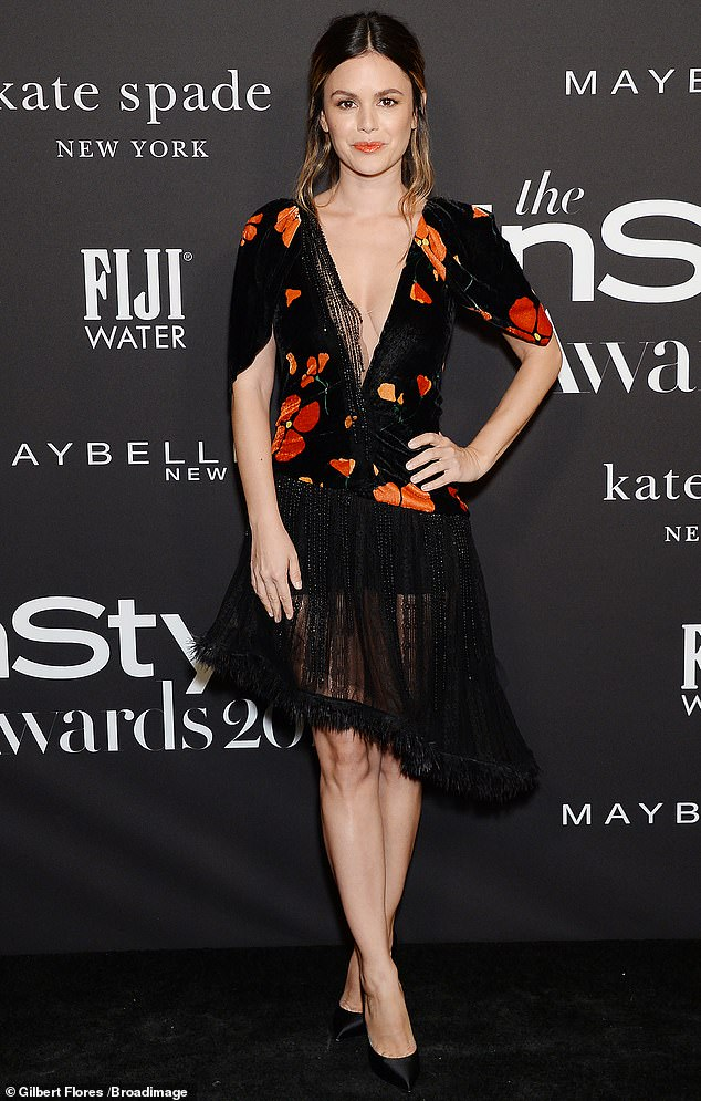 Posh: Rachel Bilson had the night off on Monday as she attended the 5th Annual InStyle Awards in a chest-baring floral dress with a dazzling fringed skirt at the Getty Center in Los Angeles, Calif.
