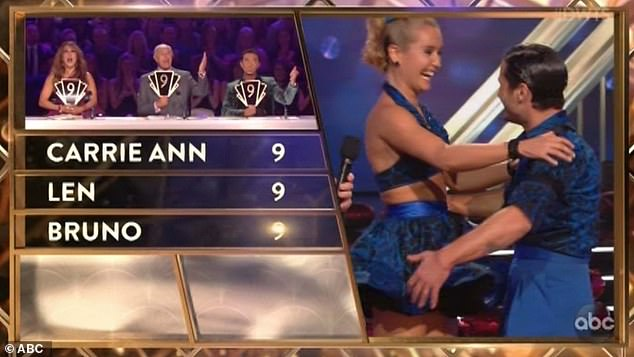 High scores: Carrie Ann Inaba, Len Goodman and Bruno Tonioli each gave them a score of 9