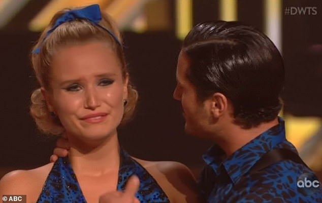 Surprise elimination: Sailor Brinkley-Cook sobbed as she was eliminated Monday from season 28 of Dancing With The Stars on ABC