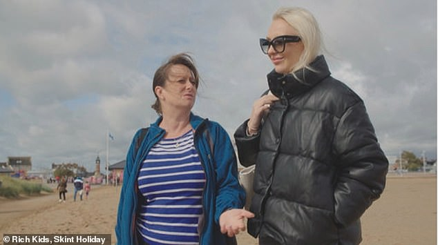 Tracy (pictured with the heiress) saved for four months to afford a few night's stay at a caravan park with a daily budget of £20 for food and activities