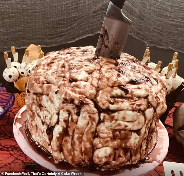 This cake is definitely frightening but probably not for the reasons intended. Social media users accused the unidentified brain cake of looking decidedly ugly and unappetising