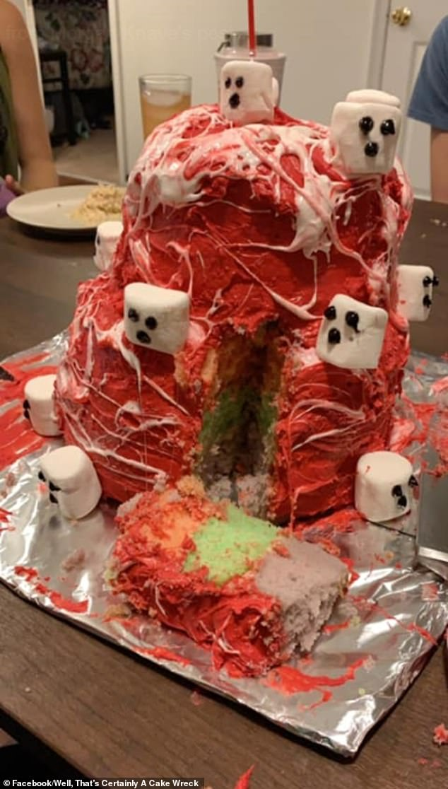 One anonymous woman's attempt at aMarshmallow Web Ghost Cake turned into a 'horrifying mess' that left several social media users in stitches.The location of this photograph is unclear