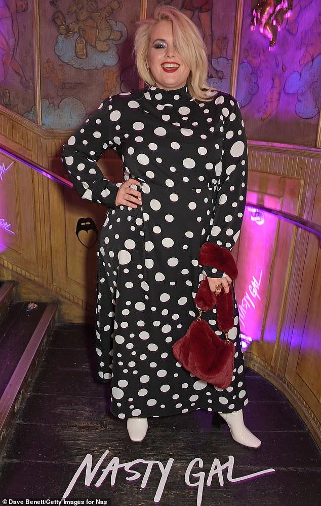 Dotty:Felicity Hayward looked sensational in a monochrome polka-dot dress