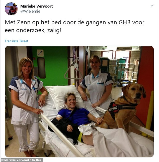 In a recent post on Vervoort's Twitter, she smiled with her beloved dog Zenn on her hospital bed
