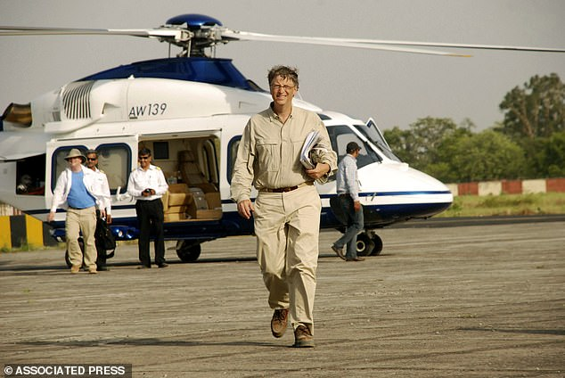 Swedish academics analysed the carbon footprints of ten famous people who travel the globe, with Bill Gates (pictured) topping the listwith carbon footprint of more than 1,600 tons of CO2