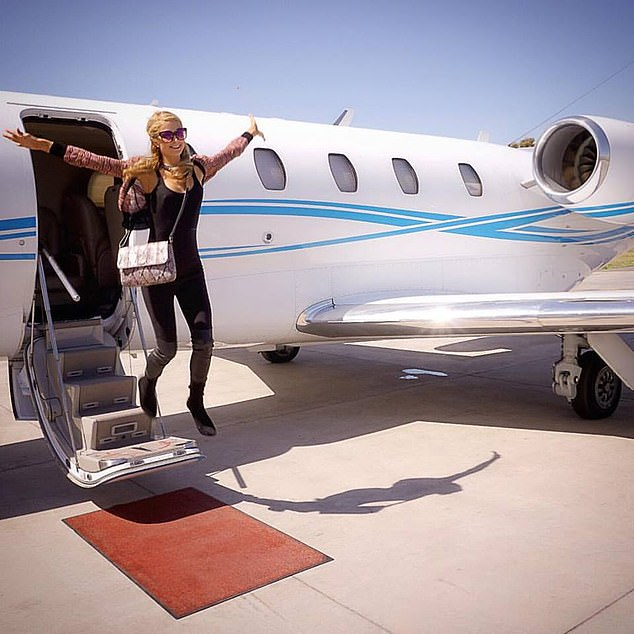 Second was socialite Paris Hilton (pictured), who flew 171,346 miles by various private jets, emitting more than 1,260 tons of CO2 in the process