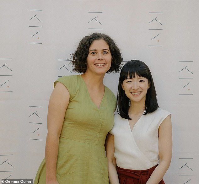 The Melbourne professional tidier - who trained under Marie Kondo (pictured together) - said you need to imagine the kind of life you want to live, and whether each aspect brings you joy