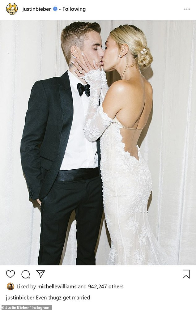 She explained herself: 'Me sharing my story is exactly what I've always done. I can't be unauthentic. I can't pretend that I'm not going through something when it's obvious that I had been,' said Gomez; here Justin and Hailey are seen on their wedding day