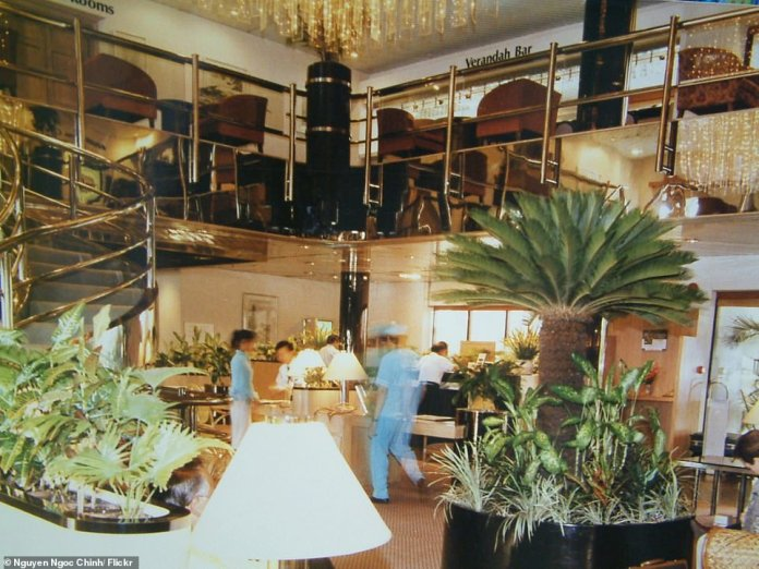 the £10million hotel was completed in Singapore and Tarca's design was towed over 3,000 miles to the reef (pictured: the dining room and bar during its Vietnam days)