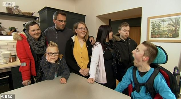 The family-of-seven: (Left to right), Yasmin, Vinnie, father Chris, Jess, mother Tara, Josh and Ben were thrilled as the derelict building site was transformed into their dream home