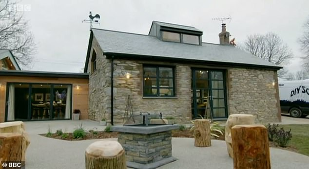 In nine days the DIY SOS team swooped to transform the derelict old forge into a home fit for the brave family. Pictured above is the forge