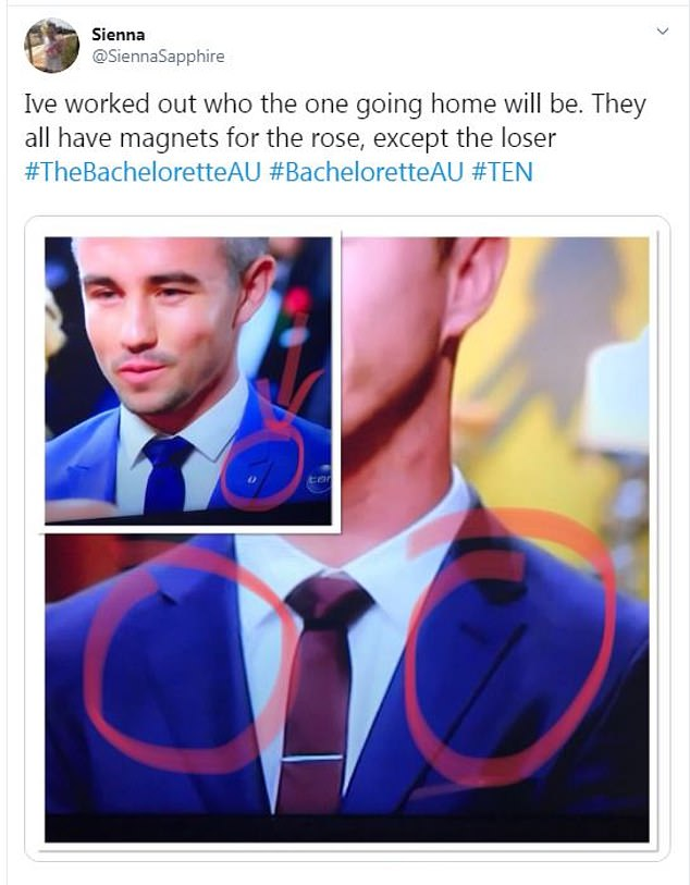 Spotted! In past seasons, a quick glance of the suitors' lapels at the start of the rose ceremony would allow viewers to quickly work out who was going home