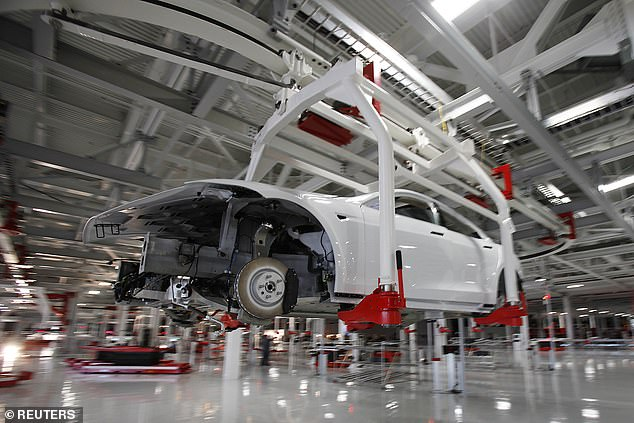 As for domestic production, Musk indicated in a leaked email to employees last month that the company had a 'shot' at delivering 100,000 electric vehicles. Pictured above is the company's factory in Fremont, California, earlier this month
