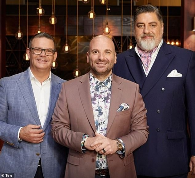 It's over! George (centre), Gary (left) and Matt (right) previously hosted MasterChef for 11 years before being dumped by Channel 10 in July