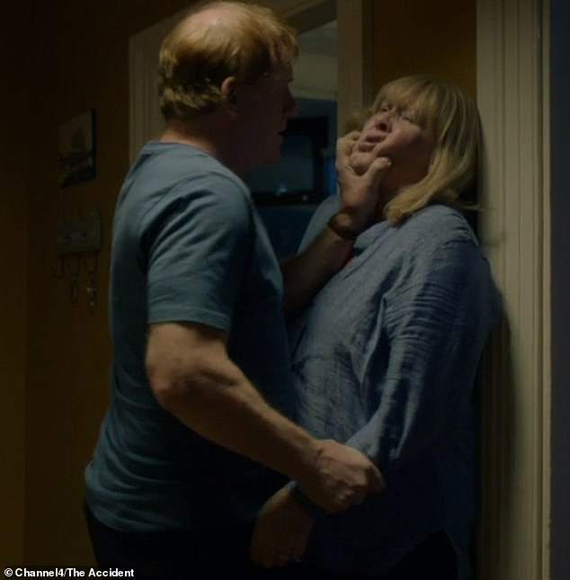 The Accident aired on channel 4 last night but was slammed by viewers for airing a distressing domestic violence scene which saw Penny (played by Sarah Lancashire) beaten to the floor by her husband, Iwan Bevan (Mark Lewis Jones). Pictured in the show