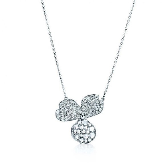 Tiffany & Co. Tiffany Paper Flowers Pave Diamond Flower Pendant at £7,475 is also included