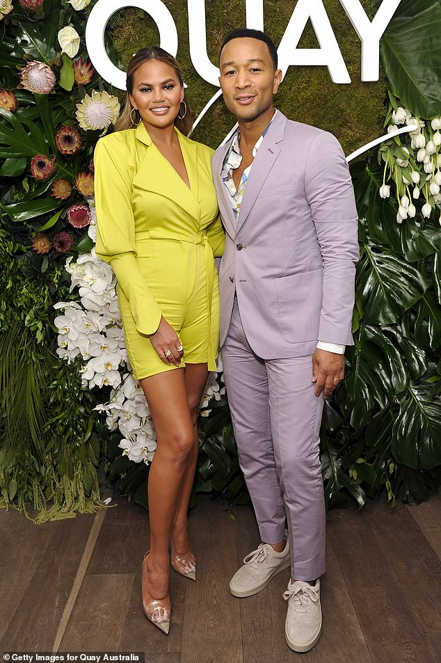 True love:Chrissy Teigen was quick to thank her husband John Legend on Sunday, confessing that he had flown all the way to LA from London to be with her as she 'hasn't been feeling herself lately'