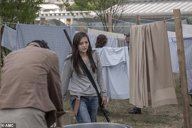 Taking off: Lydia fled the bullying and marched to another corner of camp