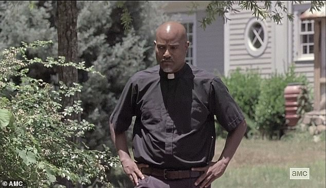 Tough decision:Father Gabriel Stokes [Seth Gilliam] was considering his vote and went to talk to Negan