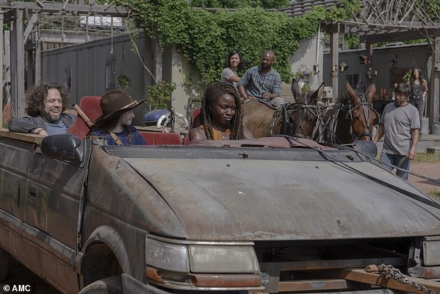 Convertible ride: Michonne, Judith and Luke left for Oceanside together