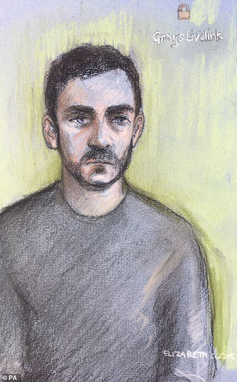 Maurice 'Mo' Robinson, 25, appeared via video link at Chelmsford Magistrates' Court (pictured in a sketch)